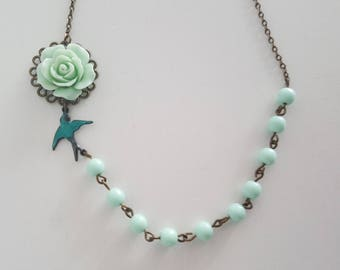 Aqua rose flower with mint stone brone antique green bird connected necklace