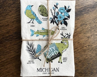 Michigan State Symbols Tea Towel