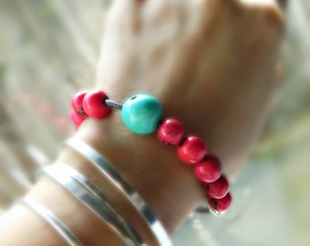 Acai Seed & Sterling Silver Bracelet - berry red / aqua