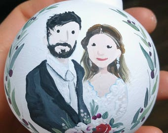Hand Painted Wedding or Anniversary Ornament