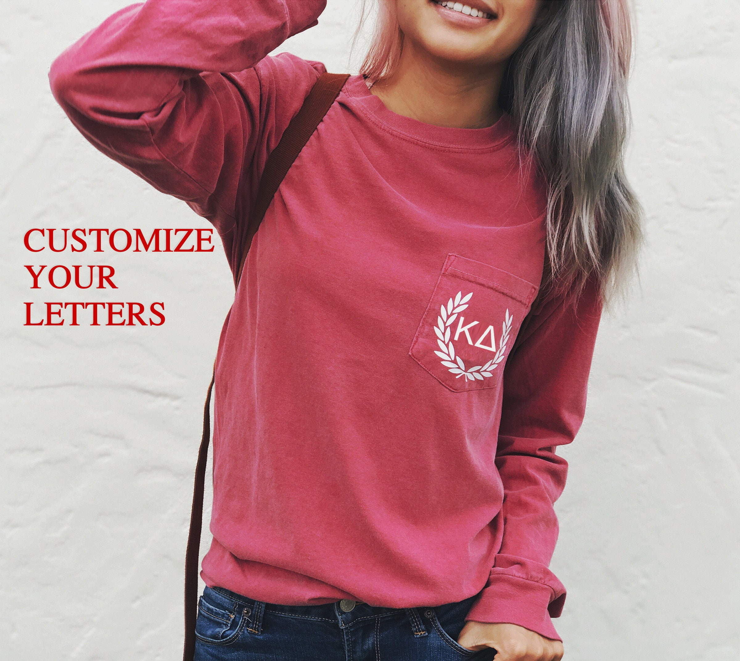 you tee sleeve monogrammed custom colors personalized sleeved pocket comfortcolorslongsleevetee comfort re apparel long comforter