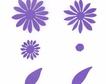 Cut scrapbooking flowers set of 5 cutouts