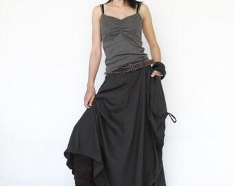 NO.123 Charcoal Cotton Jersey Mega Pocket Maxi Skirt