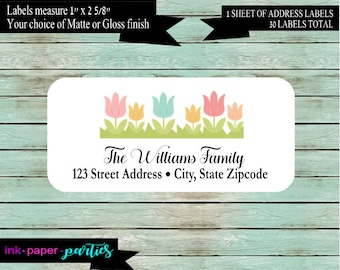Flowers Tulips Spring Return Address Labels  Personalized Custom ~ We Print and Mail to You