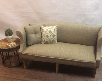 Miniature Dollhouse Sofa 1:12th Scale - Camel Fabric with 2 Toss Pillows