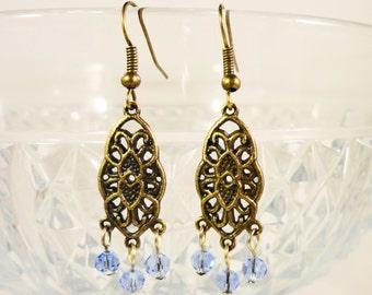 Immergrün-blau Ohrringe, Ohrringe, Licht Blau Kristall Ohrringe, Ohrringe, Damen Perlen Schmuck, blaue Perlen Ohrringe,