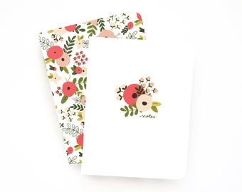 Pocket Journal Set of 2 | Illustrated Small Notebooks with Lined Pages: Blooming Wreath Pocket Journal Set