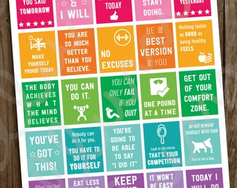 Fitness Planner Stickers | PRINTABLE Workout Motivational Quote Stickers | Full Box Quotes | fits Erin Condren | Weight Loss Inspiration