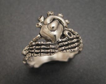 Sterling Skeletal Claddagh Ring