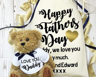 Personalised teddy bear gift for Daddy, with cotton gift bag. Father's Day teddy bear keepsake gift. Gift for Dad.