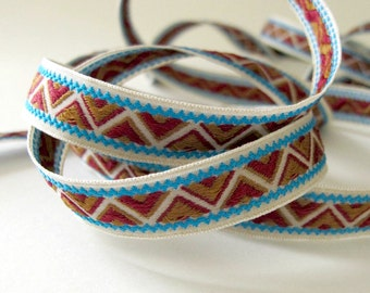 ZIGGURAT 3 yards Jacquard trim in tan, burgundy, turquoise on off white. White edges. 9/16 inch wide. 954-D