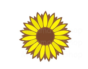 Sunflower One Color Instant Digital Download File Cuttable