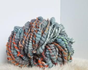 Beehive Yarn. Blue Yarn. Hand Spun Yarn. Hand Dyed Yarn. Sculptural Yarn. Bulky Yarn. Thick and Thin. Huge Yarn. Merino Wool Yarn. Fiber Art