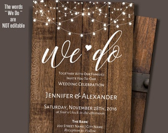 We do Invitation, Printable wedding Invite, Rustic Wedding Templates, Instant Download Self-Editable PDF A207