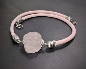 Natural rough raw Rose quartz pink leather chocker necklace