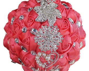 Rustic Coral Satin Rose Bouquet Ribbon Rose Bouquet Crystal Rhinestone Bridal Bouquet Bridesmaid Bouquet Brooch Bouquet Wedding Flowers