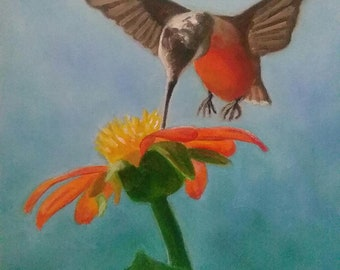 "Hummingbird Painting Original Oil Bird and Flower Art 8"" X 10"" Stretched Canvas Hummingbird Series Bird Lover Nature Art"
