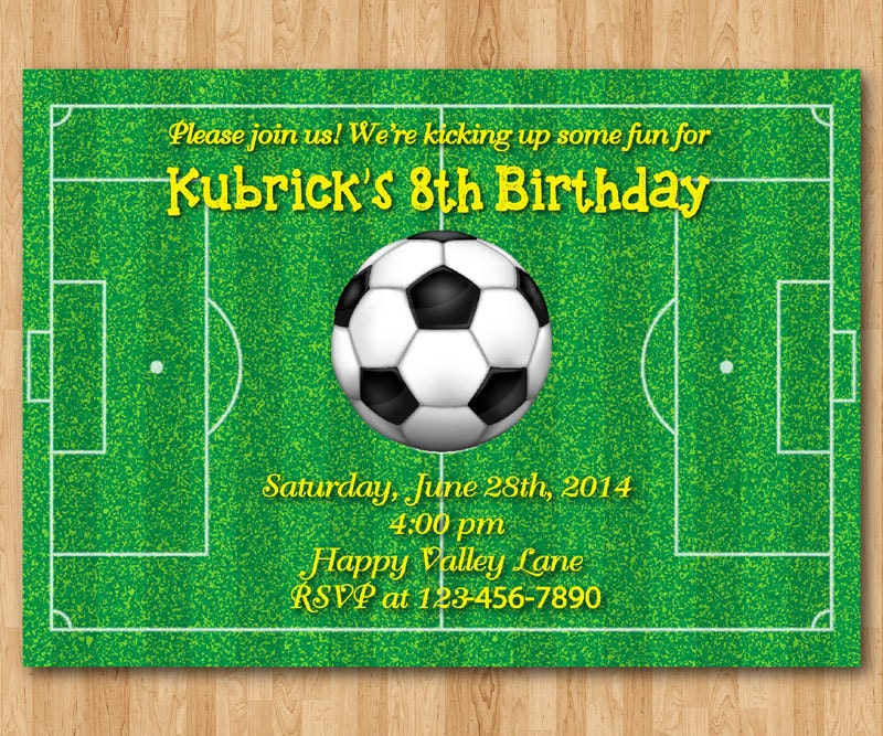 Soccer birthday invitation Football Baby boy 1st first