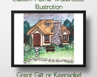 Custom Home Watercolor Illustration: C. Manco Studios, Housewarming,New Home, New Couple, Keepsake, Childhood, Decor, Customization, Holiday
