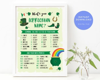 Whats your Leprechaun name sign, PRINTABLE St Patricks day game Leprechaun name game, Paddys day St Patricks day party games printable decor