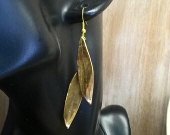 Two olive leaves earrings