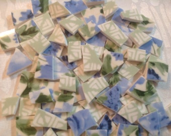 Broken China mosaic tiles~~Handcut Fine chinaTile~~~BLuE and GReeN SHouLD ALwayS Be SeeN