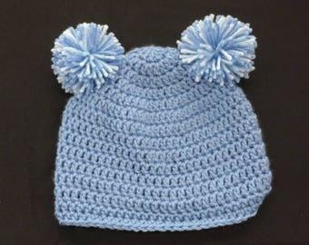 Child's Teddy Bear / Pompom hat