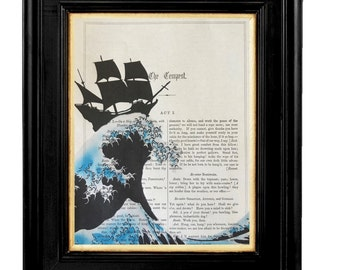 """William Shakespeare Play """"The Tempest""""-Printed on Vintage 7x10 Vintage Shakespeare book page,Shakespeare Quotes, Shakespeare Book Prints"""