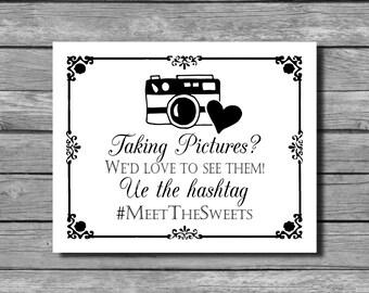 Social Media Hashtag Wedding Sign - DIY Download and Print - Printable File - Rustic Rose Frame Design