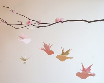 Bird Mobile - Hanging Mobile, Home Decor, Nursery Mobile, Birds On Branch, Baby Mobile, Pink Mobile, Gifts For Her, Paper Mobile