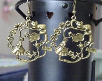 Bronze  Alice in Wonderland earrings
