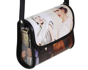 Small crossbody bag fashion magazine, FREE SHIPPING, Upcycled fashionista Bag, crossbody purse, Recycled Hipster Bag, Small vegan sling bag