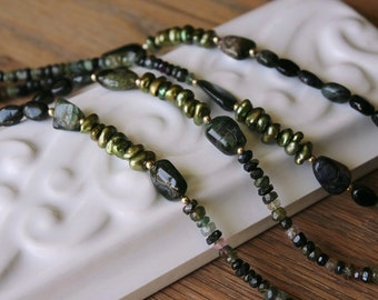 Tourmaline Necklace. 36 Inches Long. Shaded Greens to Black Tourmaline with Freshwater Pearls. 14Kt Gold Filled Accent.#796