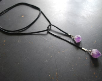 Black Leather & Amethyst Lariat Necklace