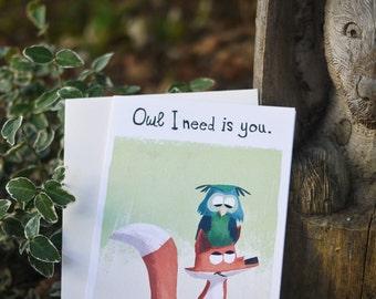 Owl Card , Fox Card, I Love You Card, Owl Art , Fox Art, Childrens Art