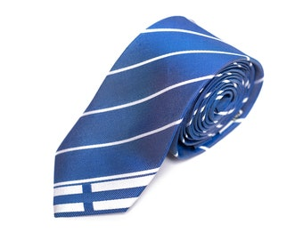 """Finland Skinny Tie (2.5"""") - Inspired by the Finnish Flag. LDS Missionary. Husband Gift, Missionary Gift."""