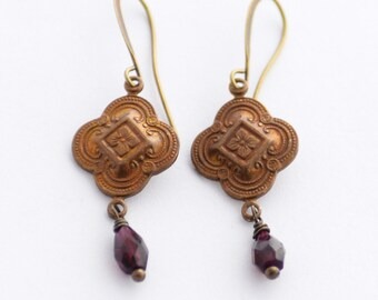 Garnet Earrings, January Birthstone, January Birthday Gift, Garnet Jewelry Gift, Gemstone Earrings, Patina Earrings, Red Earrings, SRAJD