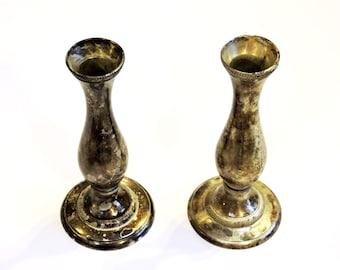 Silver Plated Candlestick Holders Pair Vintage Tarnished Candleholders Wedding Table Decor Holiday Christmas Entertaining itsyourcountry