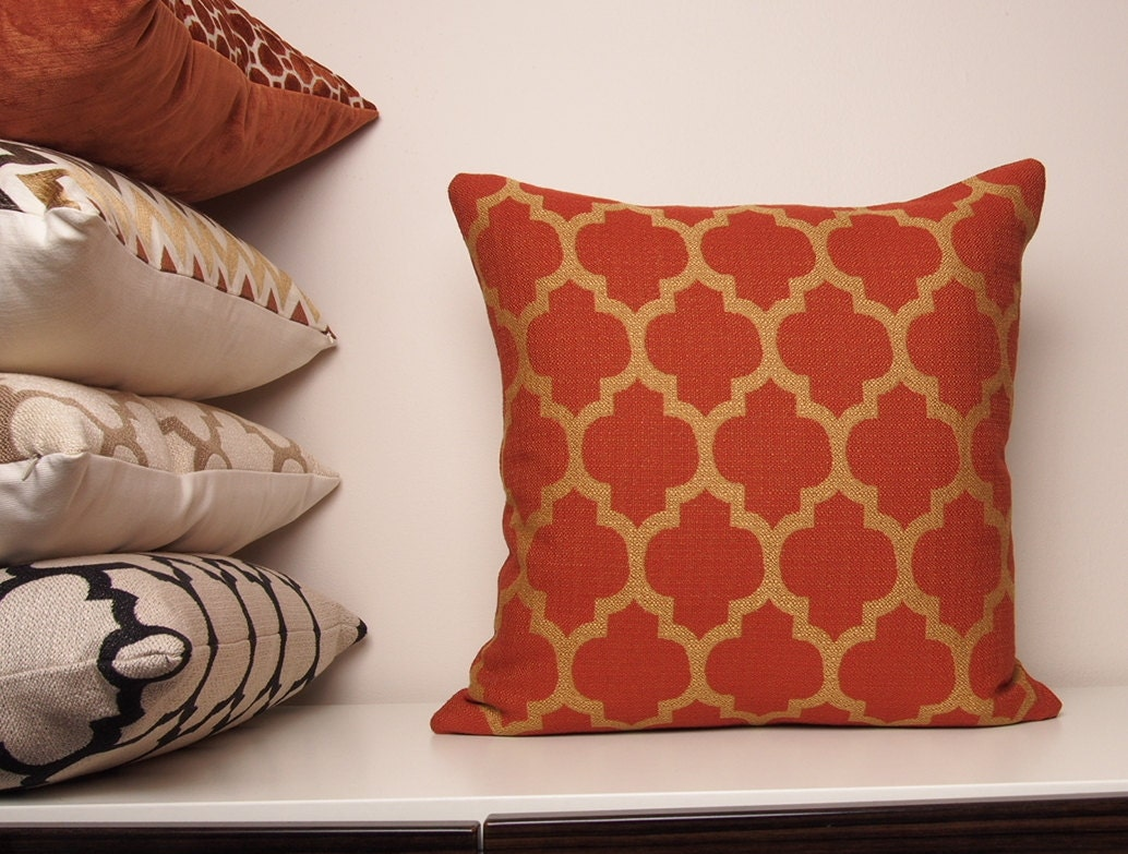 Copper Pillow Cover Orange Pillow Burnt Orange Pillow Fall