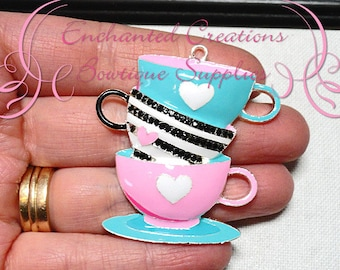 "2""  Alice In Wonderland Topsy Turvy Teacup Inspired Chunky Pendant, Keychain,  Bookmark, Chunky Jewelry, Purse Charm"