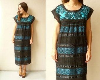 1970's Vintage Mexican Oaxacan Woven Embroidered Hippie Folk Smock Maxi Dress Tunic