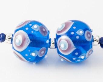 Turquoise Graphics Lampwork Beads