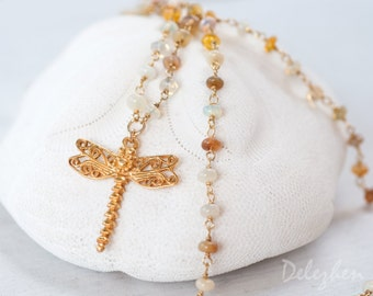 Ethiopian Opal Necklace - Dragonfly - Butterfly - Statement Necklace -  October Birthstone Opal Necklace -Gold Necklace