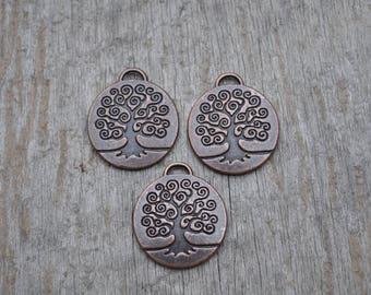 Medium Brass Tree of Life Charm/3pcs