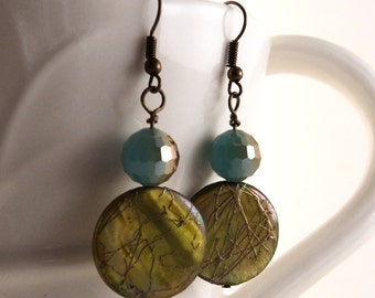 Green Freshwater Pearl and Gold Coins with Teal Glass Dangle Earrings