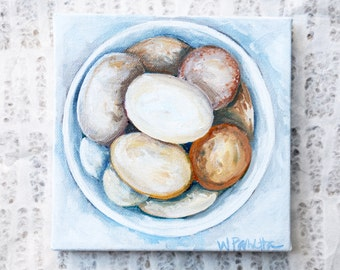 Backyard Chicken Home Decor: Bowl of Eggs Oil Painting