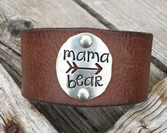Mama Bear leather cuff / belt bracelet / stamped jewelry / pewter / arrow jewelry / mother / mom gift / hand stamped / mama