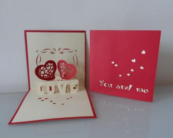Two Hearts You and Me Pop up Card Anniversary- Love (sku054)