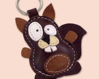 Leather Keychain Little Brown Squirrel - Squirrel Gift Ideas - Leather Squirrel Accessories  - FREE Shipping Worldwide - Leather Bag Charm