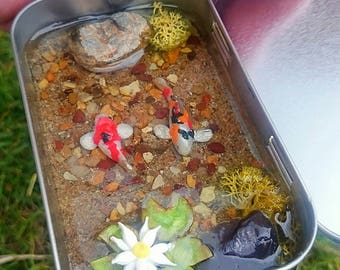 Pond in your  pocket Miniature fish pond in a tin can with lid koi carp ooak for miniature collectors or fairy gardens scenes